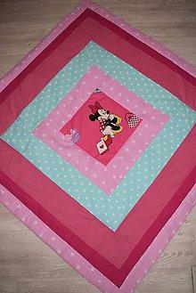 Textil - DĚTSKÁ PATCHWORKOVÁ DEKA ...růžová 120 x 120 cm - 8736183_