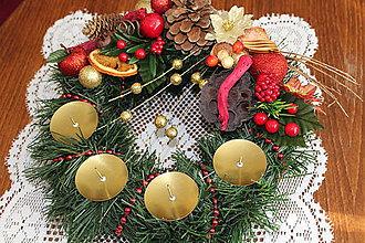 Svietidlá a sviečky - Adventný venček tradičný červený - 8735632_