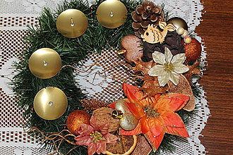 Svietidlá a sviečky - Adventný venček tradičný medený - 8735732_