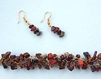Sady šperkov - Náramok s náušnicami - jaspis brekciový - 8738462_