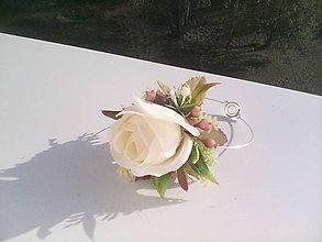 """Náramky - Kvetinový náramok """"...mäkká biela..."""" - 8734873_"""