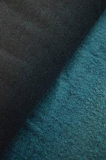 Textil - Teplákovina elastická počesaná – černo-modrý melír - 8737471_