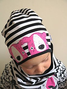 Detské čiapky - čiapka Medvede na prúžku (ružové, modré) - 8736489_