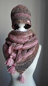Čiapky - Háčkovaná čiapka vintage staroruža s béžovou a hnedou - 8735613_