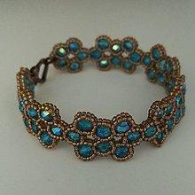 Náramky - Náramok - modré sklo - 8737695_