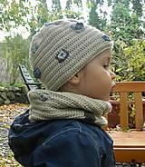 Detské súpravy - Béžový set čiapočka a nákrčník - 8735367_