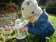 Detské súpravy - Béžový set čiapočka a nákrčník - 8735386_
