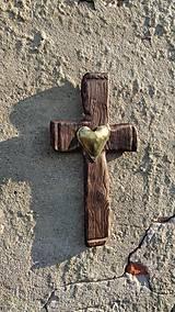 """Dekorácie - Kríž """"Planúce srdce""""  - 8736597_"""