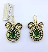 Náušnice - Luxury zlato - zelené náušnice - 8736432_