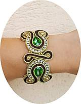 Náramky - Luxury zlato - zelený náramok - 8736475_