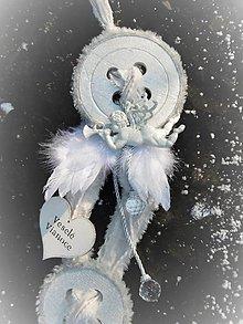 Dekorácie - Luxusná gombíková vianočná nálada s anjelom - 8740729_