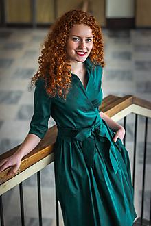 Šaty - Zavinovací šaty MONA, smaragdová zelená (Vel 38) - 8738819_