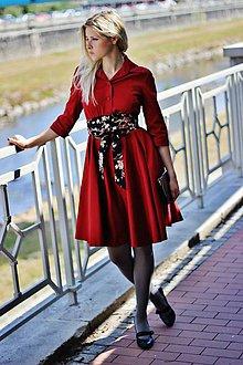 Šaty - Košilové šaty SARA, tmavší červená - 8739715_