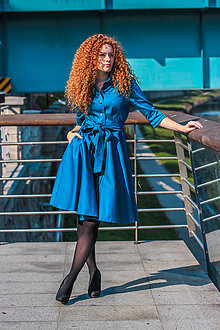 Šaty - Košilové šaty SARA, petrolej modrá - 8741204_