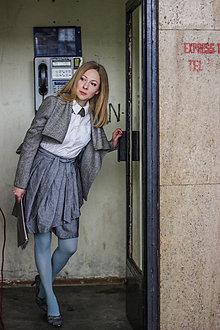 Sukne - Zavinovací sukně ANJA, šedá - 8743770_