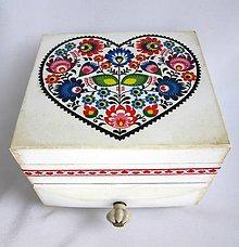 Krabičky - Komodka folk s keramickou úchytkou - 8744095_