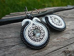 Náušnice - Soutache náušnice Black&Silver...elegant - 8743309_