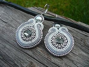Náušnice - Soutache náušnice Silver Elegant - 8743973_