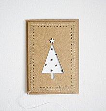 Papiernictvo - Pozdrav vianočný - minimalistický stromček V - 8742255_