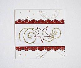 Papiernictvo - Vyšívaný vianočný pozdrav - hviezda červená - 8742810_
