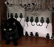 Úžitkový textil - Obliečka na vankúš s čiernymi mačičkami 35 x 35 cm - 8742698_
