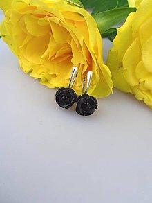 Náušnice - ónyx náušnice v striebre - čierne kvety - 8744304_