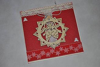 Papiernictvo - Červené Vianoce - šišky - 8740411_