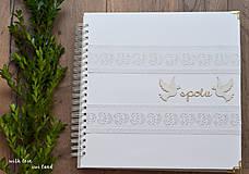Papiernictvo - Svadobný fotoalbum - s bielou stuhou - 8744291_