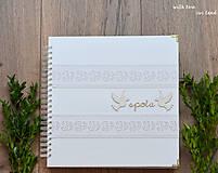 Papiernictvo - Svadobný fotoalbum - s bielou stuhou - 8744292_
