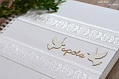 Papiernictvo - Svadobný fotoalbum - s bielou stuhou - 8744293_