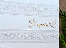 Papiernictvo - Svadobný fotoalbum - s bielou stuhou - 8744294_