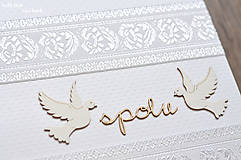 Papiernictvo - Svadobný fotoalbum - s bielou stuhou - 8744296_