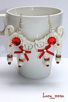 Náušnice - Náušničky mačičky bielo-červené :) - 8739207_