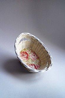 Košíky - Košík papierový - Červené oranžové ruže | malý biely - 8743806_