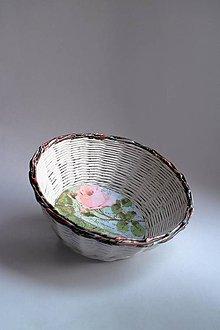 Košíky - Košík papierový - Ruža zelená | Hnedý okraj - 8743882_