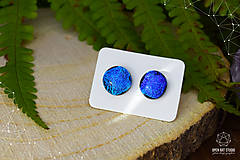 Náušnice - Modré - tyrkysové sklenené napichovačky - 8740226_