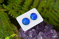 Náušnice - Modré - tyrkysové sklenené napichovačky - 8740227_