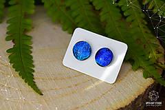 Náušnice - Modré - tyrkysové sklenené napichovačky - 8740229_