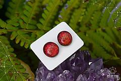 Náušnice - Oranžovo-červené trblietavé dichroické náušnice - 8740399_