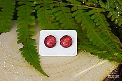 Náušnice - Oranžovo-červené trblietavé dichroické náušnice - 8740400_