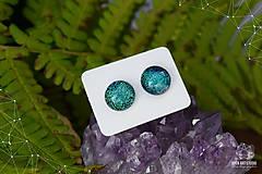 Náušnice - Zeleno-tyrkysové sklenené napichovačky - 8742842_