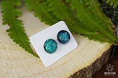Náušnice - Zeleno-tyrkysové sklenené napichovačky - 8742852_