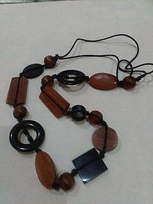 Náhrdelníky - Drevený náhrdelník prirodny - 8740617_