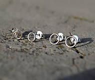 Náušnice - mini krúžky strieborné I. (šroubovacie zapínanie 4mm) - 8748811_