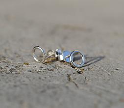 Náušnice - mini krúžky strieborné I. (šroubovacie zapínanie 4mm) - 8748810_