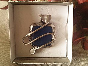 Náhrdelníky - Modré sklo v cíne. - 8749408_