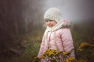 Detské čiapky - Ušianka a nákrčník PRÍRODNÁ ALPAKA - 8744526_