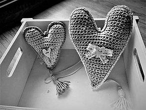 Dekorácie - Srdce háčkované menšie - 8744587_