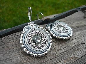 Náušnice - Soutache náušnice Silver Elegant - 8746778_