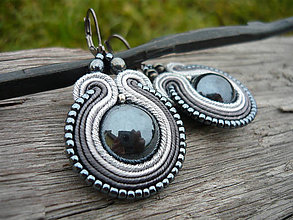 Náušnice - Soutache náušnice Midnight shadow - 8746838_